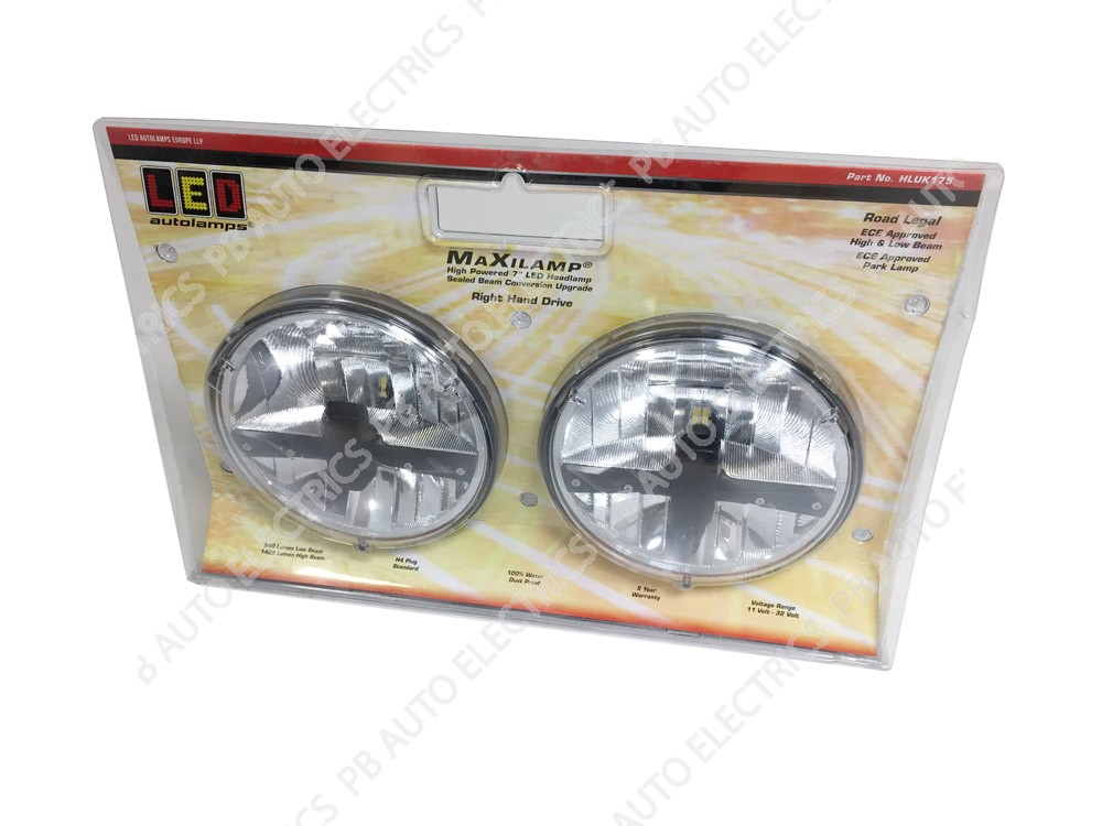 LED Autolamps 7 Inch LED Headlamp Right Hand Drive (Twin Pack) High / Low / Park Beam 12/24v – HLUK175