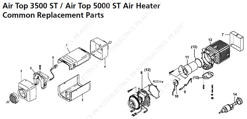 webasto air top 3500st  5000st common replacement parts