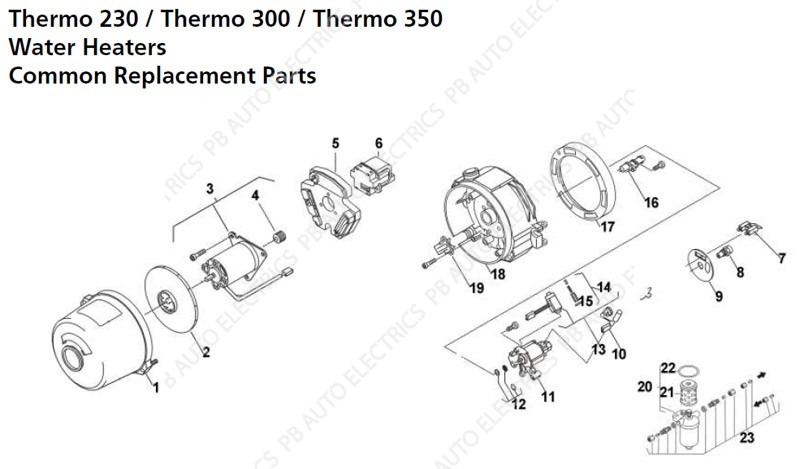 webasto thermo 230  300  350 common replacement parts