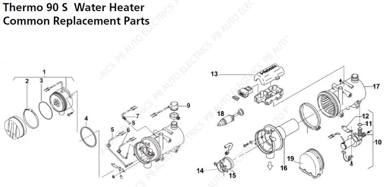 Webasto Thermo 90S Common Replacement Parts - PB Auto Electrics