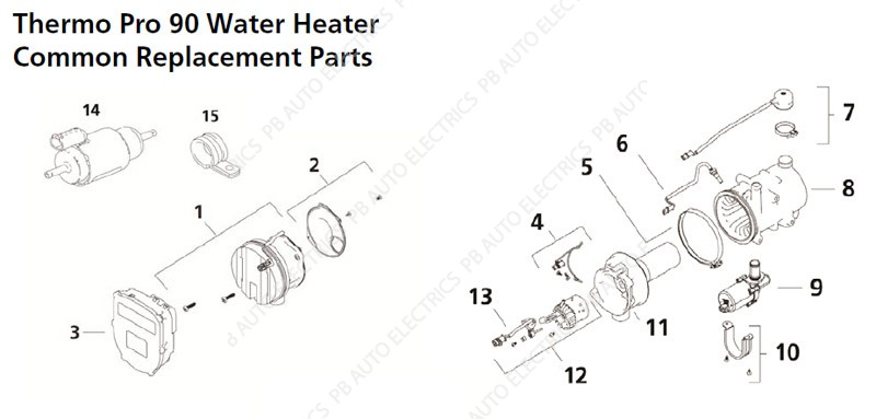 webasto thermo pro 90 common replacement parts