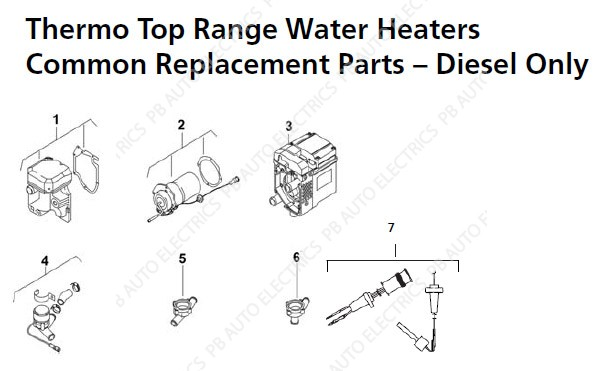 webasto thermo top range common spare parts pb auto electrics rh pbautoelectrics co uk webasto heater repair service manual webasto heater repair service manual