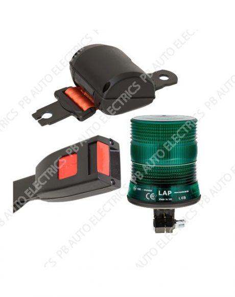 Securon Orange Seat Belt With Fixing Buckle & Green LED Single Bolt Beacon Kit - PBLAP101
