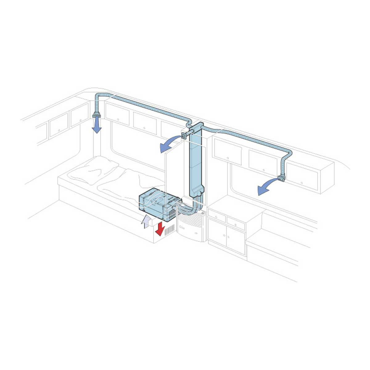 The luxury solution provides extreme living and sleeping comfort with the individually extendible cold air system