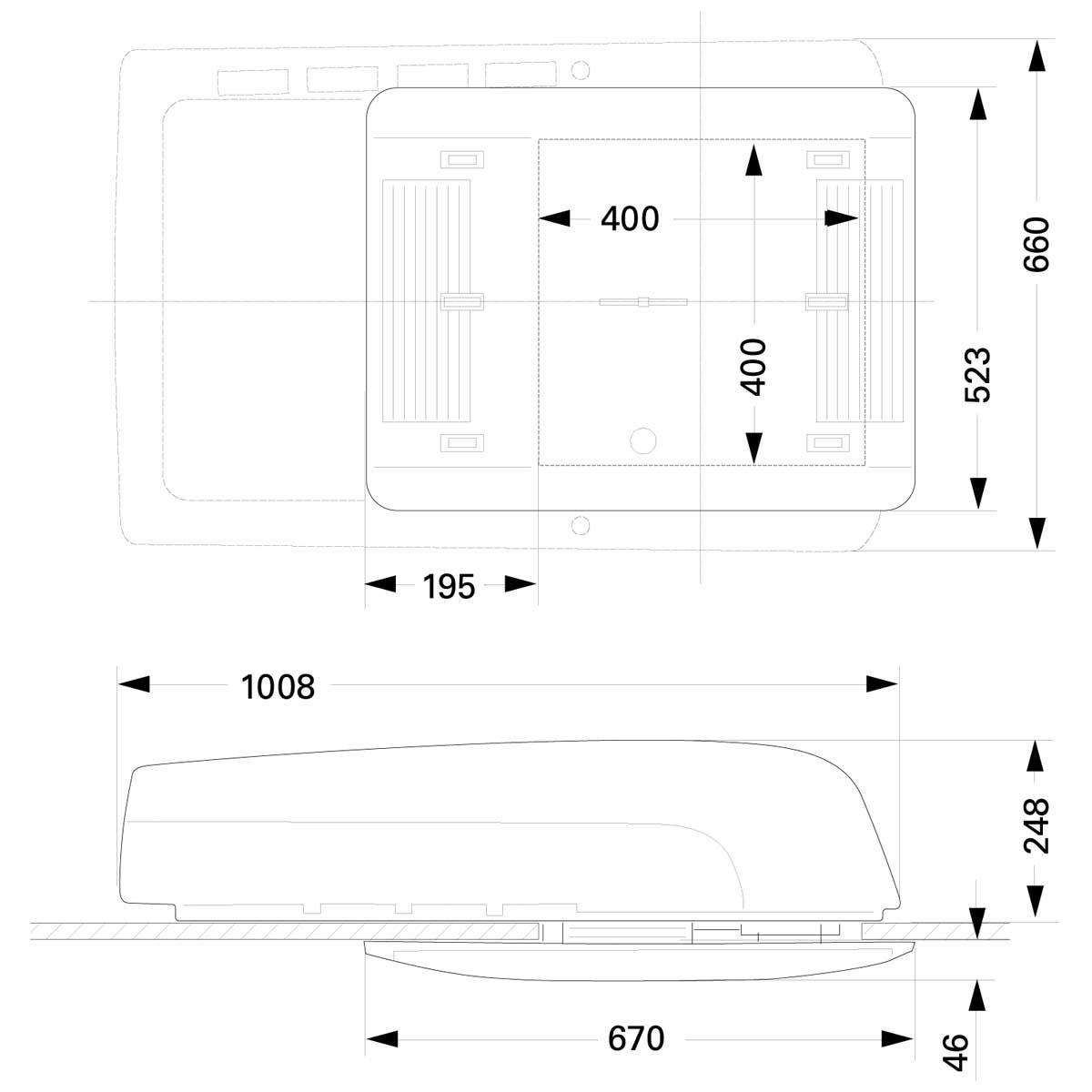 Truma Aventa Comfort Air Conditioning Unit With Air Distribution Unit Dimensions large