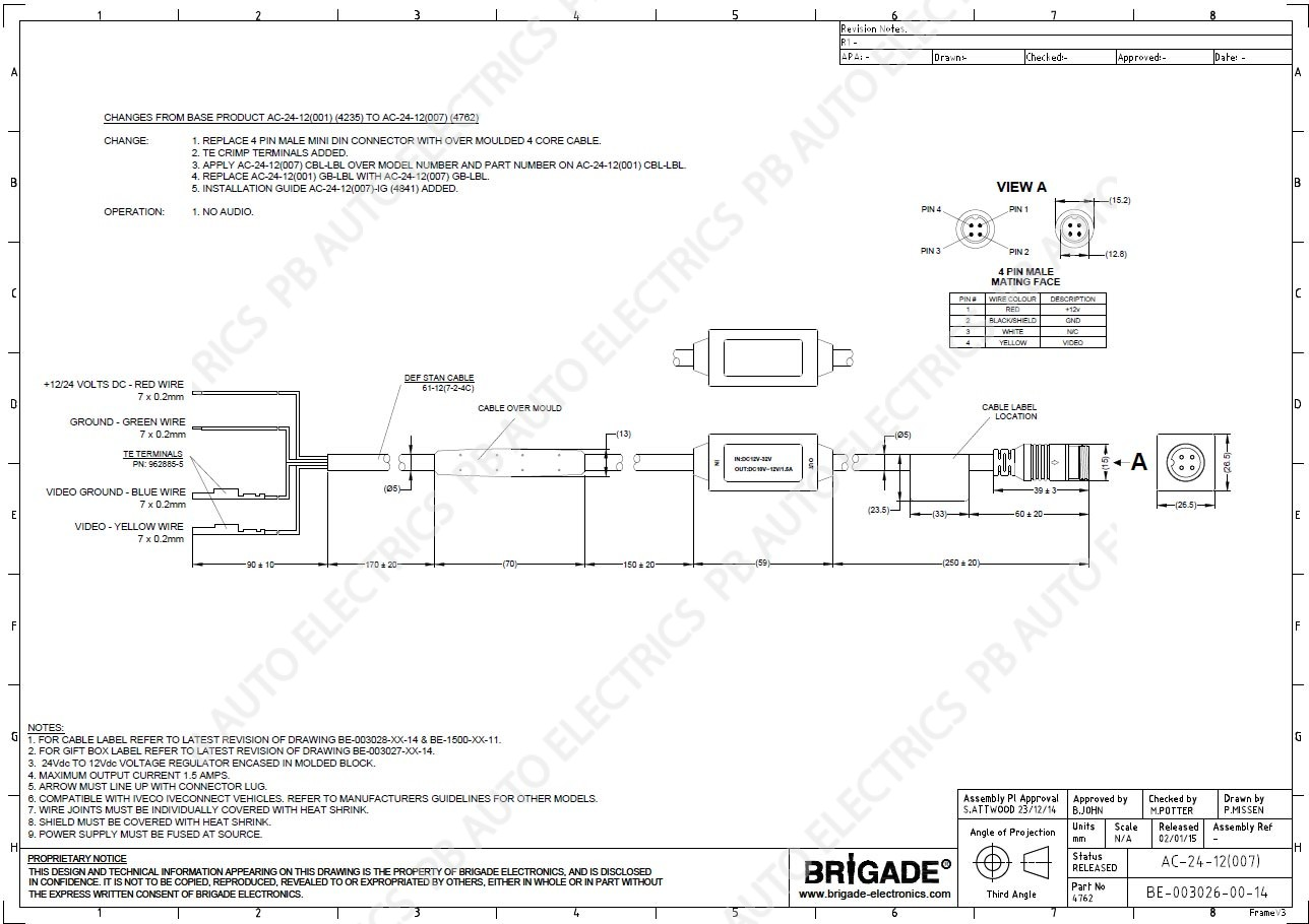 Brigade Ac 24 12007 In Line 12v Volts Converter Select To 12 Volt Wiring Diagram 4 Prong Service Partners Logo