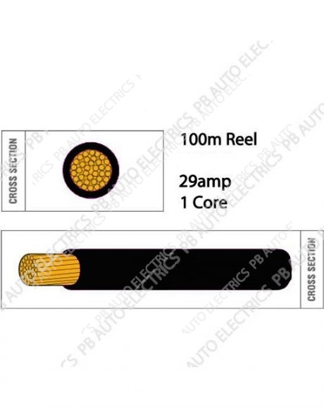 Auto Marine 100m Thin Wall 29 amp 1 Core Round Auto Cable - TW2.5.100
