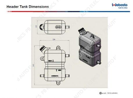 Webasto header tank dimensions