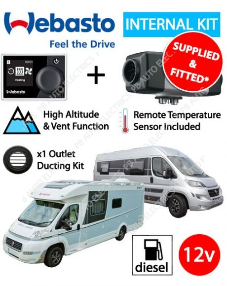 Webasto Air Top 2000 STC Motorhome RV Air Heater Diesel 12v RV MultiControl Internal Mount Kit & 1 Outlet Ducting Kit - 4114762C-RVMC-1SF