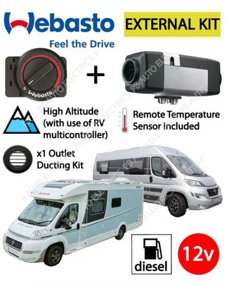 Webasto Air Top 2000 STC Motorhome RV Air Heater Kit Diesel 12v Rotary Control External Mount & 1 Outlet Ducting Kit - 4114763C/EXT/1