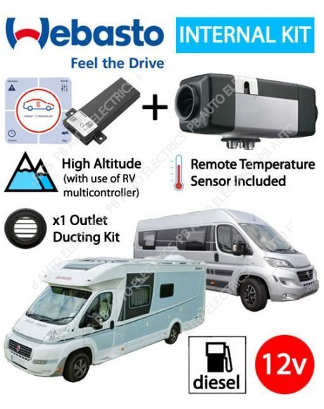Webasto Air Top 2000STC Motorhome RV Air Heater Diesel 12v RV ThermoConnect Internal Mount Kit & 1 Outlet Ducting Kit - 4114762C-RV-TCon2