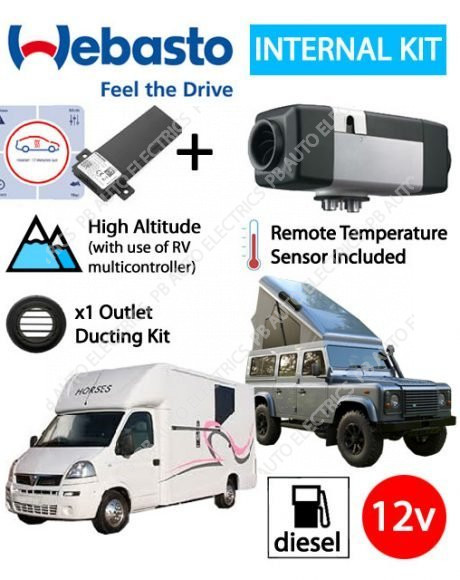 Webasto Air Top 2000 STC Sportshome/Horsebox Air Heater Kit Diesel 12v TCon2, Installation & 1 Outlet Ducting Kit
