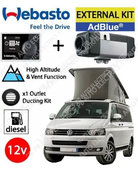 Webasto Air Top 2000 STC VW T6 Underfloor Air Heater Kit Diesel AdBlue 12v MultiControl & 1 Outlet Ducting Kit