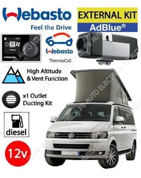 Webasto Air Top 2000 STC VW T6 Underfloor Air Heater Kit Diesel AdBlue 12v Multicontrol, ThermoCall & 1 Outlet Ducting Kit